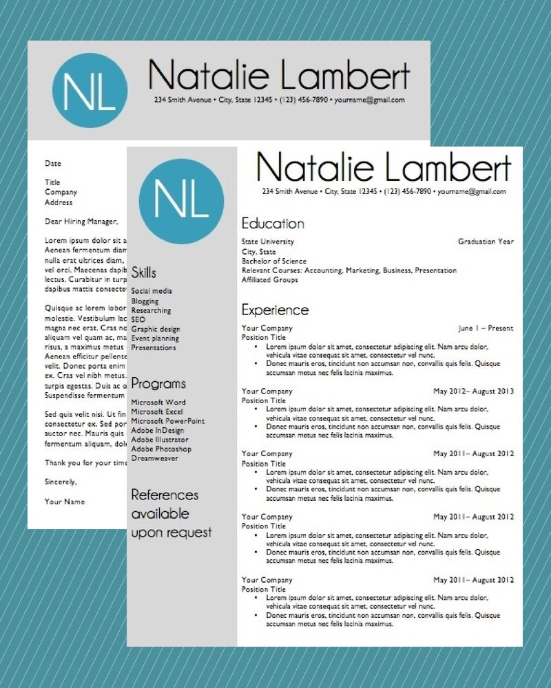 Resume Template Word Document Download Modern Monogram