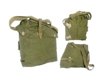 Green canvas shoulder bag of unique shape - 2 ways 2 wear - Genuine Army Surplus - hiking student snack sandwich bag
