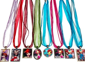 Glass pendant and ribbon necklaces featuring images of Vintage Pose dolls. 7 Necklaces to choose from in this listing