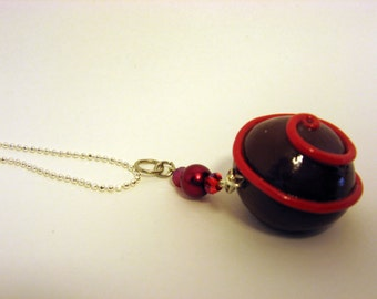 Red Swirl Truffle Charm, Miniature Food Jewelry, Chocolate Pendant Gift, Polymer Clay