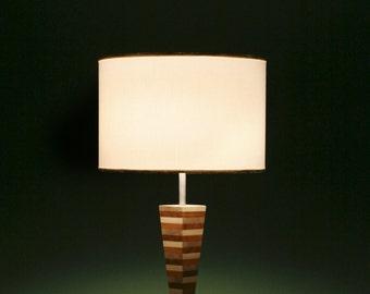 Table lamp desk lamp, lampada da tavolo legno intarsiato, made in Italy