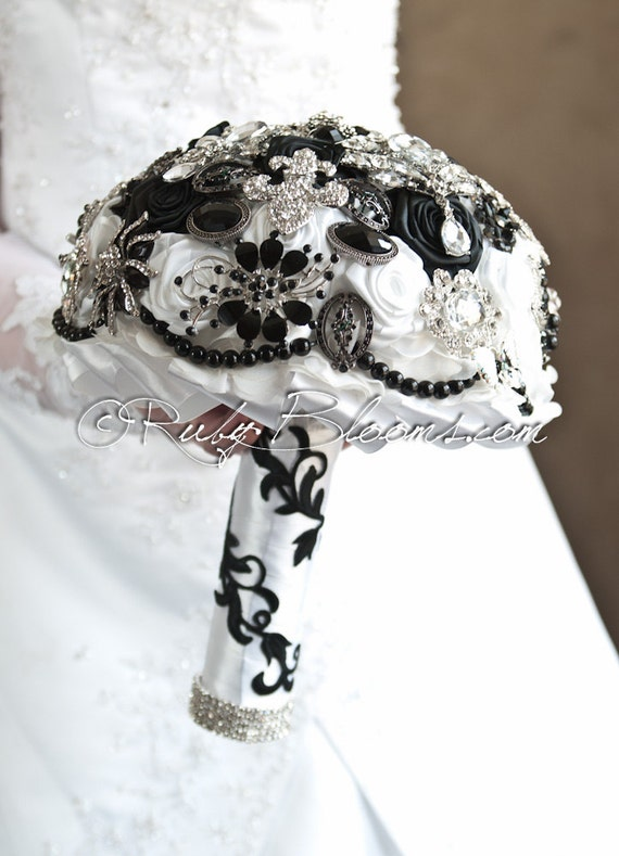 "Black and White Wedding Brooch Bouquet. Deposit ""Fleur De Lis"", New Orleans Heirloom Bouquet. Bridal Broach Bouquet, Ruby Blooms Jewelry"