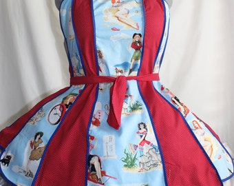 THE BOMBSHELL Apron - Rockabilly perfection Full Apron - with Eric Kauffman Pin Up Girl Fabric