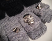 Knittted wool fingerless gloves with studs and skulls. Black or Grey