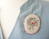 Cameo Number 3 - Wavy - Embroidered  Brooch