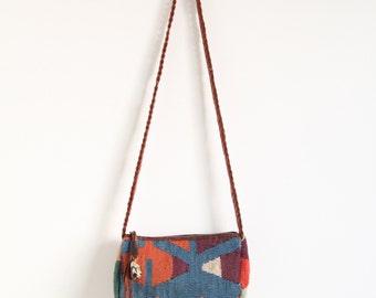 1970's Kilim Crossbody Bag Leather Strap