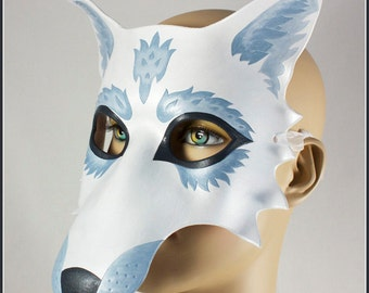 Silvery White Wolf handmade leather masquerade mask for Halloween costume,  Mardi Gras, Carnival, larp, or wedding masque