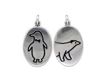 Sterling Silver Polar Bear Necklace and Penguin Necklace - Reversible Silver Pendant