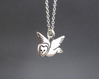 Sterling Barn Owl Necklace - Silver Owl Pendant