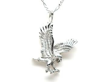 Eagle Landing Sterling Silver Bird Animal 3D Charm Pendant Customize no. 2182