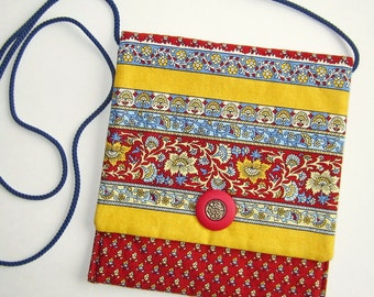 Sidepocket Purse, Crossbody Purse, Hip Bag, Shoulder Bag, Cell Phone Purse, red and gold