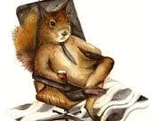 "Squirrel art, squirrel watercolor illustration, squirrel print, squirrel with drink, ""Duncan"""