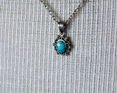 SALE! 925 Silver Pendant, Filigree & Faux Turquoise with Plated Cable Chain / Extender, Bohemian
