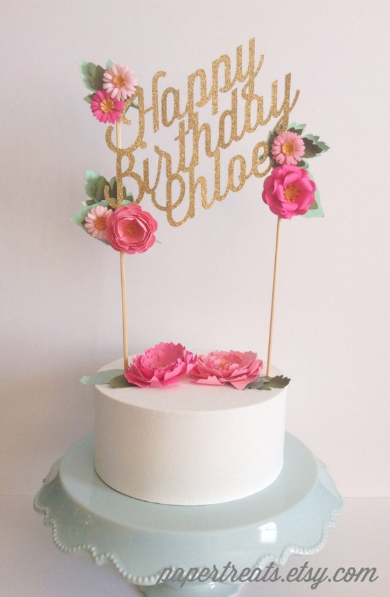 or birthday paper floral cake topper personalized with your text ...