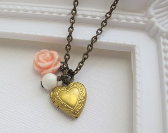 Pink Rose Heart Photo Locket Necklace. Heart Brass Locket, Ivory Pearl, Pastel Pink Rose. Romantic Vintage Style Wedding Jewelry