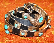 Sterling Silver Turquoise Belt Leather Hallmark Sterling D, Concho Belt, Hand Crafted Indian Silver, Stock Show Fashion, Western