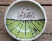 Green Bicycle Stoneware Earring Bowl