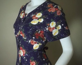 Vintage  Rose Print Rayon Maxi 90's Empire Waist Dress M