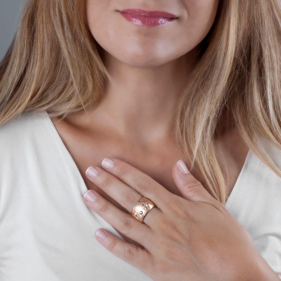 rose gold ring women ring rose gold wide gold band bohemian