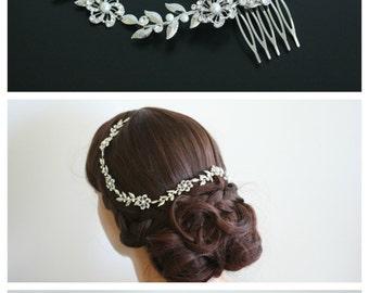 Bridal Hair Vine Wedding Hair Accessory Vine Leaf Headpiece Bridal Hair Piece Flower Halo Forehead Band SABINE HAIR VINE