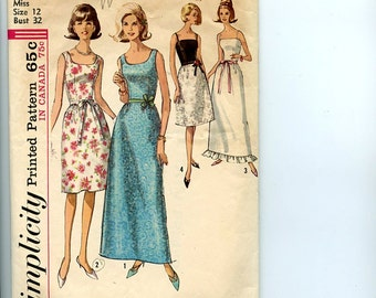 Vintage 1960s Simplicity Pattern 6002 Sleeveless Party, Cocktail, Evening  A-Line Dress has U-Neck, Fitted Bodice, 4 Styles Sz 12 Bust 32