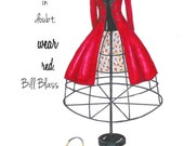 Louboutin and Red Coat Chanel Fashion Illustration, Fashion Wall Art,  Inspirational Quote, When In Doubt, Bill Blass, Teen Bedroom Art