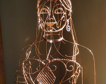 Ethereal Girl Life Size Woman Wire Sculpture