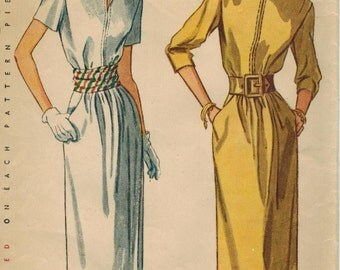 1940s Simplicity 2070 Vintage Sewing Pattern Misses Afternoon Dress Size 12 Bust 30