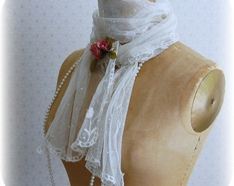 Lace Ascot Scarf Victorian Edwardian Great Gatsby Wedding Shabby Rustic Long