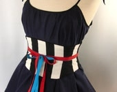 Striped Corset Black and White Waist Cincher Lace Up Obi Belt Any Size