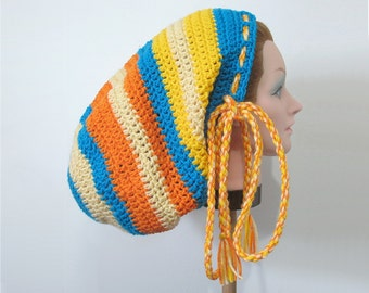 Large Crochet Rasta Tam Hat for Long Dreads Blue and Beige with Orange and Yellow Dreadlocks Sock Hat