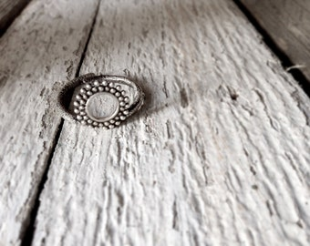 Lace ring-Minimal circle ring -Texture ring -Sterling silver Adjustable ring- statement ring-Circle lace ring-Gift for her