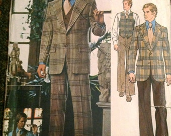 Vogue 2916  1970s Mens Jacket Vest and Pants Pattern Bill Blass Adult Vintage Sewing Pattern Chest 42 OR Chest 40