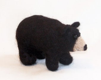 Needle Felted Animal - Black Bear - felt animals