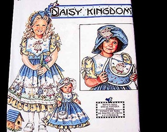 Daisy Kingdom Girls Dress Pattern size 5 6 7 8 with Hat, Purse and matching 18 inch Doll Clothes Pattern American Girl Doll Sewing Pattern