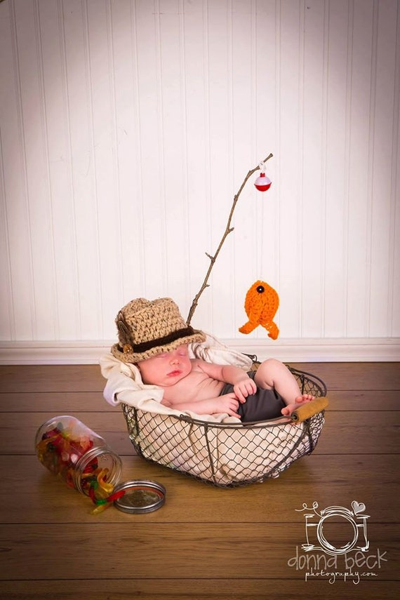 Baby boy fishing hat fish set newborn 0 3m 6m by for Baby fishing outfit