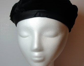 Vintage Black Fur Chapeau Pillbox Hat with Satin Trim