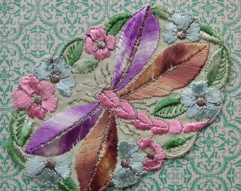 Vintage Applique 1920s 1930s Sew-On Fabric Applique Dragonfly Motif - 20s 30s antique trim metallic thread - lilac brown pink green
