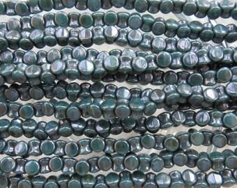 6x4mm Opaque Persian Turquoise Lumi Luster Czech Glass Interlocking Pellet Beads - Qty 50 (BW339)