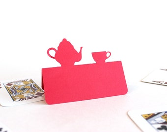 Tea party Place Cards Set of 25 teapot and teacup