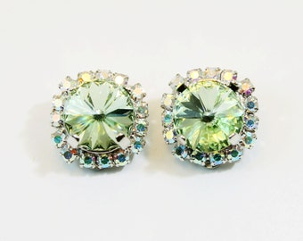 Mint Green Clip earrings Mint crystal Clip On Earrings Light Green AB Halo Swarovski rhinestones Crystals Silver finish Chrysolite, SE97