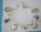 Name Charm Mother Bracelet Personalized, 4 Names Bracelet, Grandma Bracelet, Sterling Silver Charm Bracelet, Monogram Bracelet