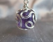 Sterling Silver Wrapped Ball Pendant - Amethyst Bead