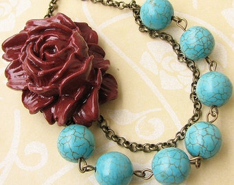 Flower Necklace Turquoise Jewelry Bib Statement Necklace Burgundy Necklace Bridesmaid Gift For Her