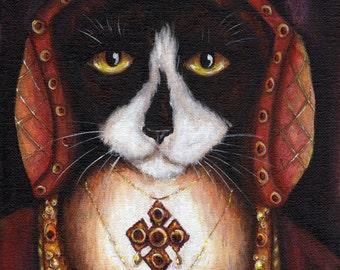 Catherine Aragon Cat, Black and White Cat in Tudor Dress, King Henry VIII