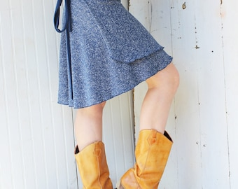 Hemp and Organic Cotton Short Wrap Skirt - Custom Made to Order - Many Colors to Choose From