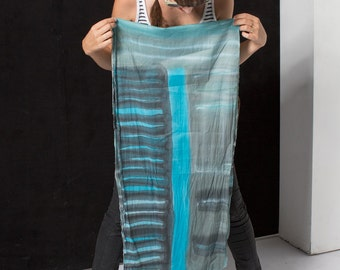 Unisex scarf Cotton scarf. Hand painted cotton scarf. Tie dyed  scarves. Aqua grey black stripes scarf Mens scarf.