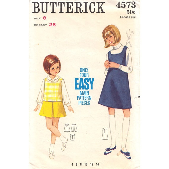 Girls Vintage Jumper or Top Skirt Sewing Pattern Butterick 4573 Size 8