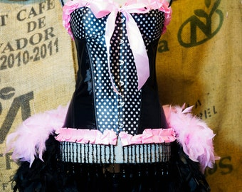 ROCKABILLY Burlesque Costume Corset Saloon girl dress with pink & black polka dot feathers