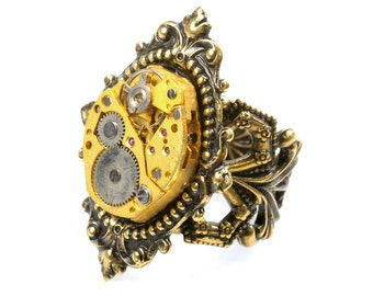Steampunk Vintage Gold Watch Movement Adjustable Ring